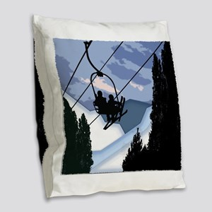 Chairlift Full of Skiers Burlap Throw Pillow