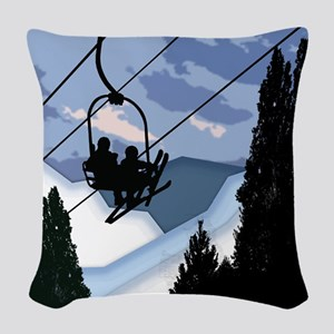 Chairlift Full of Skiers Woven Throw Pillow