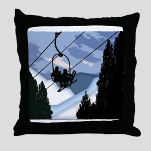 Chairlift Full of Skiers Throw Pillow
