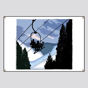Chairlift Full of Skiers Banner