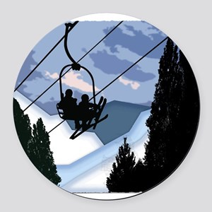 Chairlift Full of Skiers Round Car Magnet