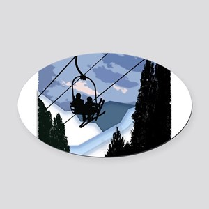 Chairlift Full of Skiers Oval Car Magnet