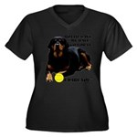 Rottie Says Women's Plus Size V-Neck Dark T-Shirt