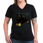 Rottie Says My Ball Women's V-Neck Dark T-Shirt