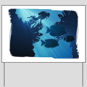 Underwater Blue World Fish Scuba Diver Yard Sign