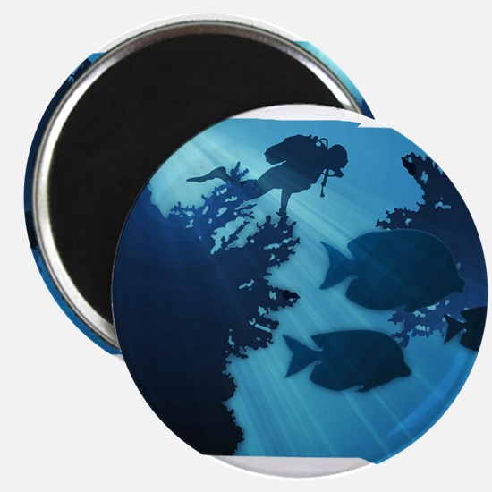 Underwater Blue World Fish Scuba Diver Magnets