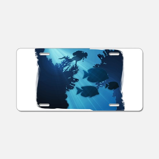 Underwater Blue World Fish Aluminum License Plate