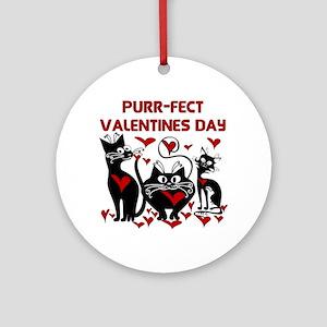 Purr-fect Valentines Day Ornament (Round)