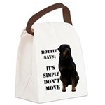 Rottie Says Don't Move Canvas Lunch Bag