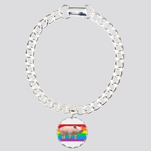 GAY RAINBOW PIG ART Charm Bracelet, One Charm
