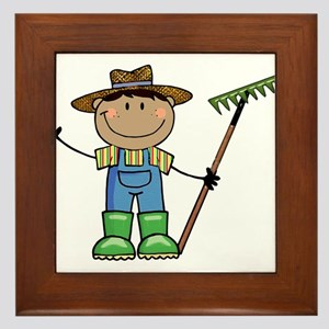 dark boy farmer brunette copy Framed Tile
