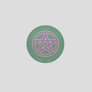 Lilac Puffy Pentagram on Green Mini Button