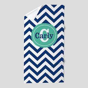 Navy Mint Chevron Personalized Beach Towel