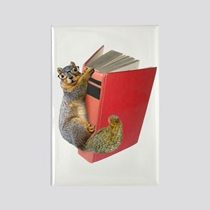 Squirrel on Book Rectangle Magnet