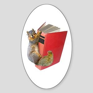 Squirrel on Book Sticker (Oval)