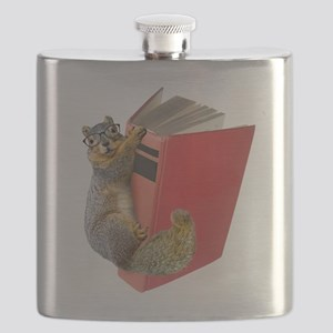 Squirrel on Book Flask