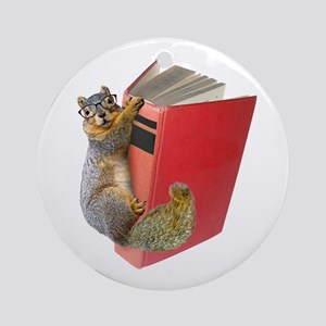 Squirrel on Book Ornament (Round)