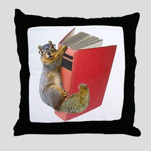 Squirrel on Book Throw Pillow