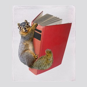 Squirrel on Book Throw Blanket