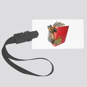 Squirrel on Book Large Luggage Tag
