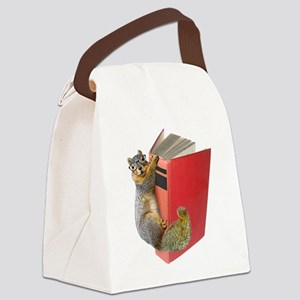 Squirrel on Book Canvas Lunch Bag