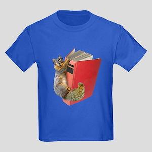 Squirrel on Book Kids Dark T-Shirt