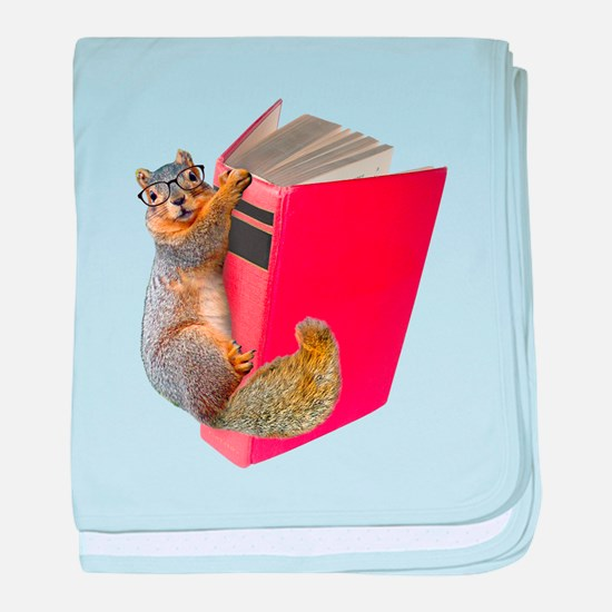Squirrel on Book baby blanket