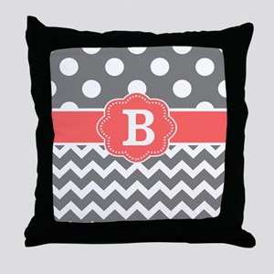 Gray Coral Chevron Dots Monogram Throw Pillow