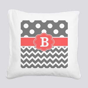 Gray Coral Chevron Dots Monogram Square Canvas Pil