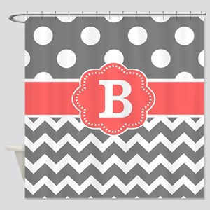 Gray Coral Chevron Dots Monogram Shower Curtain