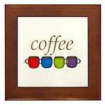 Coffee Jewel Tone Mugs Framed Tile