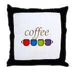 Coffee Jewel Tone Mugs Throw Pillow