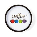Coffee Jewel Tone Mugs Wall Clock