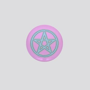 Puffy Baby Blue Pentagram on Lilac Mini Button