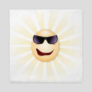 Sunshine Funny Hipster Cartoon Face Queen Duvet