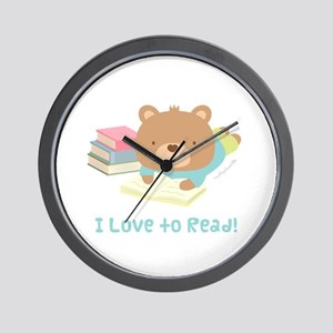 Cute Teddy Bear Loves to Read Wall Clock