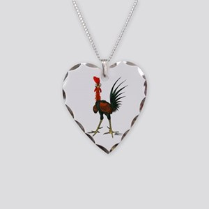 Crazy Rooster Necklace Heart Charm