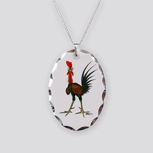 Crazy Rooster Necklace Oval Charm