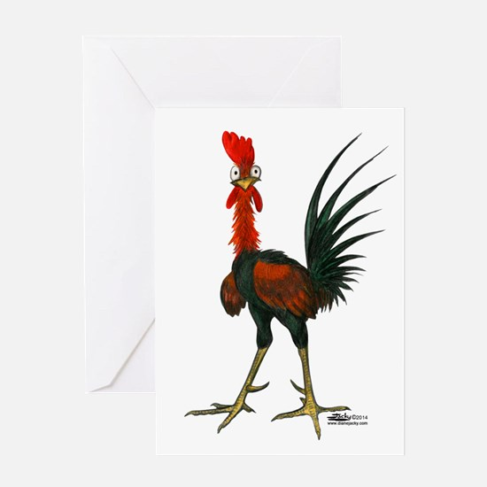 Crazy Rooster Greeting Cards