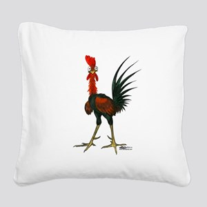 Crazy Rooster Square Canvas Pillow