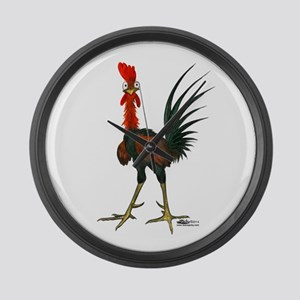 Crazy Rooster Large Wall Clock