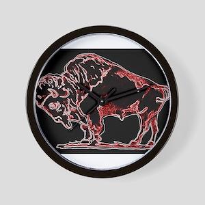 Neon Red Buffalo Wall Clock