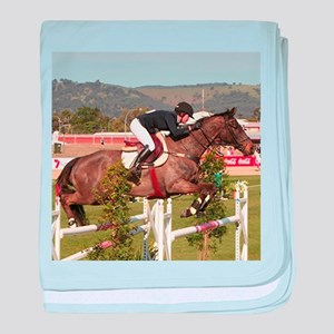 Show jumping horse and rider, Adelaid baby blanket