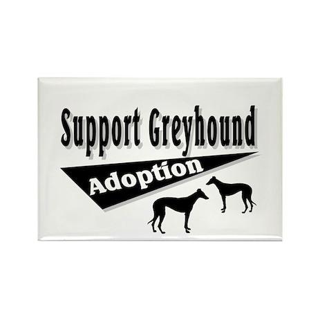 Support Greyhound Adoption Rectangle Magnet (100 p