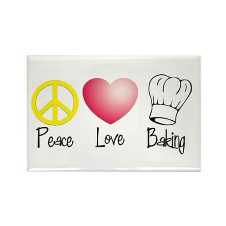 Peace, Love, Baking Rectangle Magnet (100 pack)