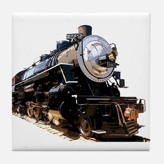 Cute Locomotive Tile Coaster