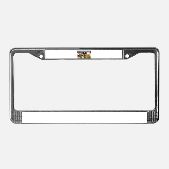 Show jumping horse and rider, License Plate Frame