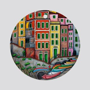 Colours of Riomaggiore Ornament (Round)
