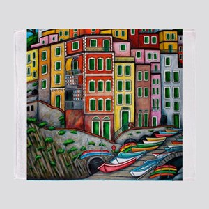 Colours of Riomaggiore Throw Blanket