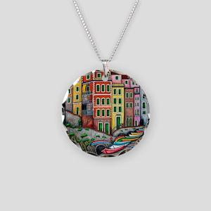 Colours of Riomaggiore Necklace Circle Charm